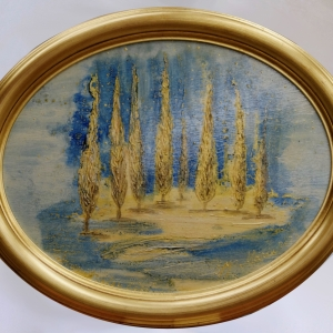 Golden Cypresses in the White Night